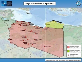 Map showing Libya Frontlines as of April 2011