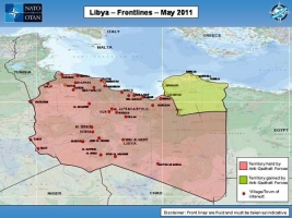 Map showing Libya Frontlines as of May 2011