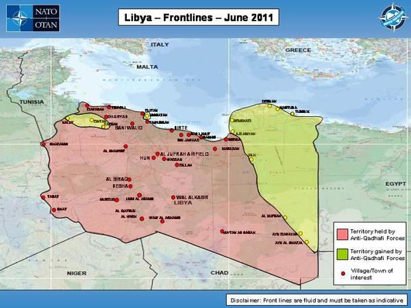Libya civil war 2011 map showing libya frontlines as of june 2011 gumiabroncs Gallery