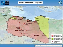Map showing Libya Frontlines as of July 2011