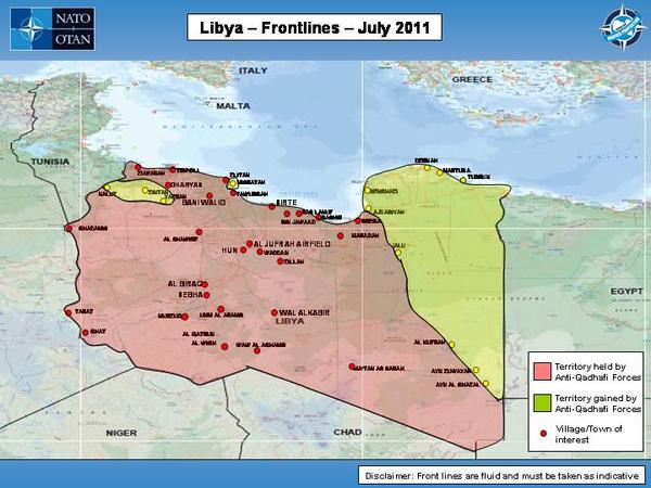 Libya civil war 2011 map showing libya frontlines as of july 2011 gumiabroncs Image collections