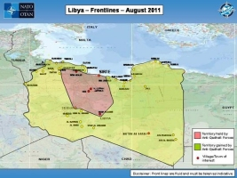 Map showing Libya Frontlines as of August 2011
