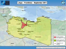 Map showing Libya Frontlines as of September 2011