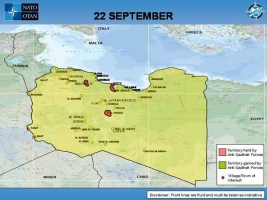 Map showing Libya Frontlines as of 22 September 2011