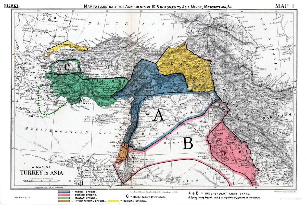 the sykes picot agreement of 1916 The terms agreed by sykes and picot, signed in 1916 under the official title of the  asia minor agreement meant that britain reneged on a deal.