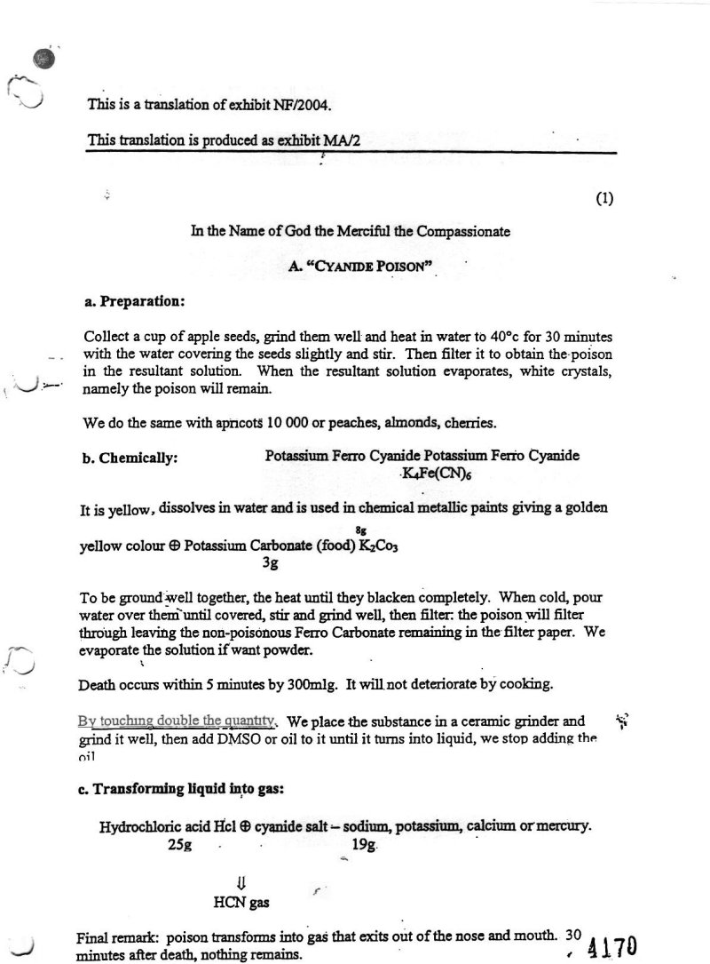 National Security Notes: Playtime Recipes For Poisons