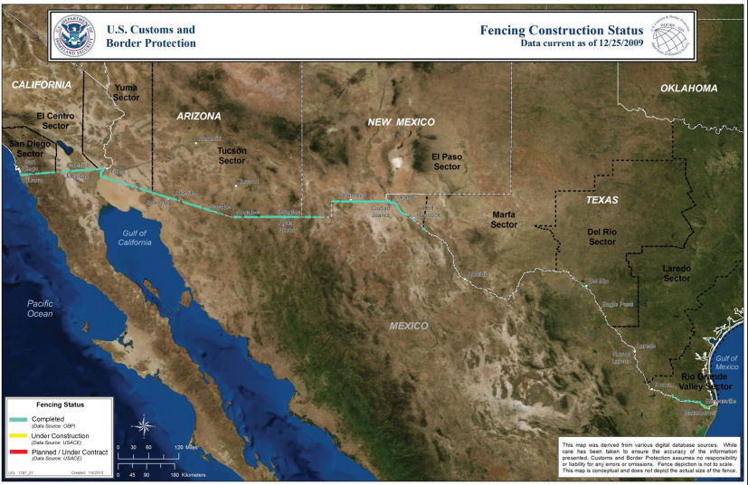 Great Wall Of Mexico - Us southern border map