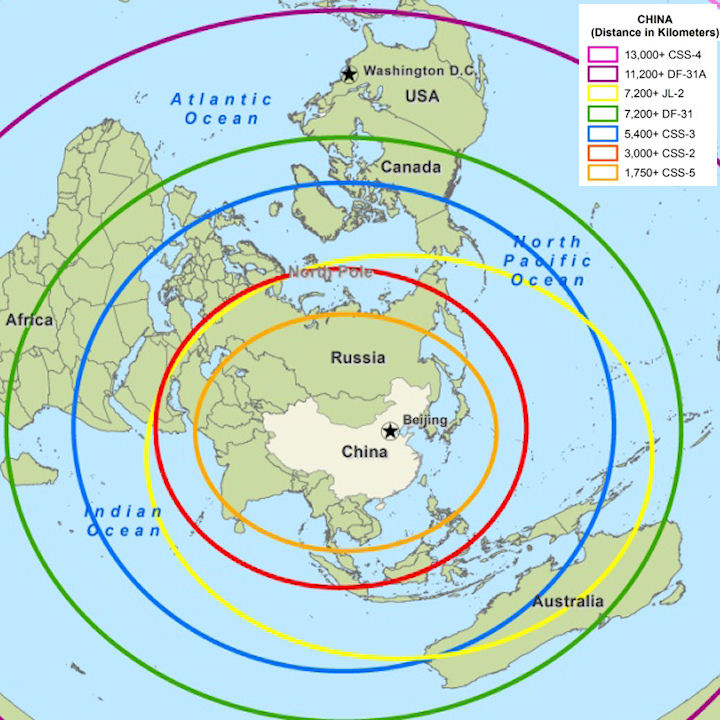 Overview China Nuclear Forces - Us icbm range map